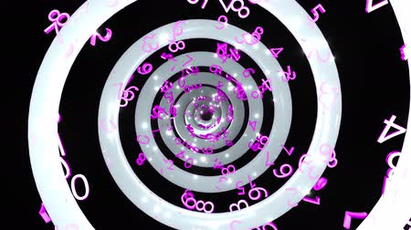 Time endless abstract spiral with many numbers, 3d rendering computer generated background