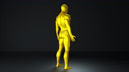 Demonstration of a golden man. Computer generated background for computer game. 3d rendering of the muscular body of a nude man.