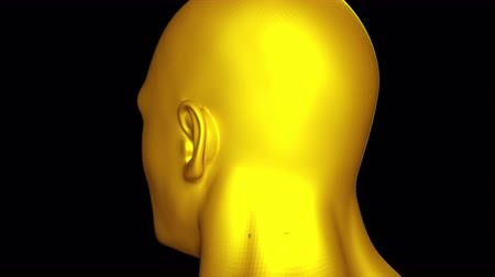 Demonstration of the head and face of a golden man. Computer generated background. 3D rendering of streamlined shape of the head close-up rotates on the screen.