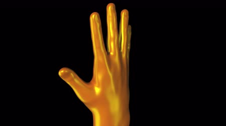 3d rendering of demonstration of the golden palm of Midas. Computer generated streamlined brush shape turn around on the screen on dark background