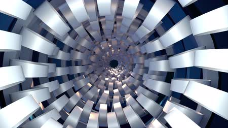 Computer generated technological tunnel. 3d rendering abstract backdrop. Inside a spiral corridor Space of the future. Dostupné videozáznamy