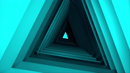dönen : Computer generated triangle tunnel. Space of the future. Inside a rotating triangular corridor. 3d rendering abstract background.