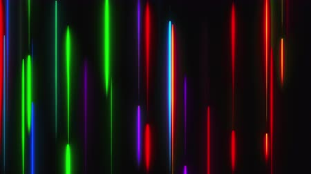 Many vertical neon lighting lines, abstract computer generated backdrop, 3D rendering