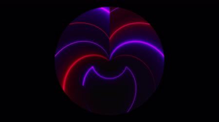 Dark circle with asymmetric neon lines of light, computer generated. 3d rendering modern night club background Dostupné videozáznamy