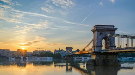 Sunrise at Chain Bridge, Budapest, Hungary, 4K Time lapse
