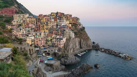 Day to night time lapse at Manarola, Cinque Terre, Italy, 4K Stok Video