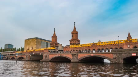oberbaum : Berlin city skyline timelapse at Oberbaum Bridge and Spree River, Berlin, Germany, 4K Time lapse Stock Footage