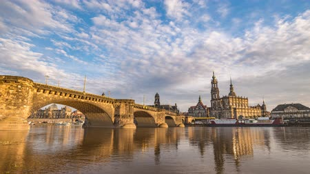 augustus : Dresden city skyline timelapse at Elbe River with Dresden Cathedral and Augustus Bridge, Dresden, Germany, 4K Time lapse