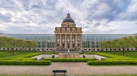 chancellery : Time lapse at Munich Bavarian State Chancellery (Bayerische Staatskanzlei), Munich, Germany Stock Footage