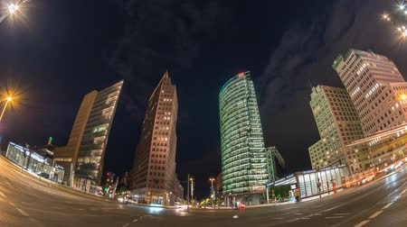 berlin skyline : Berlin city skyline night timelapse at Potsdamer Platz, Berlin, Germany 4K Time lapse
