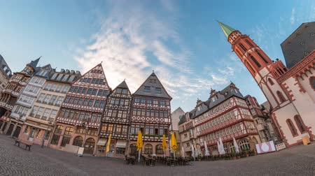 rathaus : Frankfurt city skyline timelapse at Romer Town Square, Frankfurt, Germany 4K Time lapse
