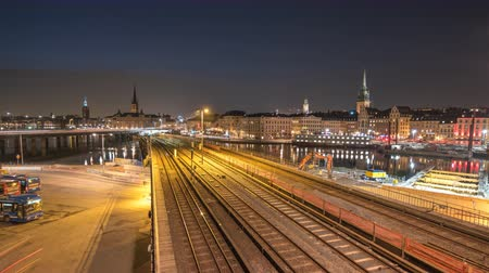stockholm : Stockholm city skyline day to night time lapse at Slussen and Gamla Stan, Stockholm Sweden 4K Time Lapse