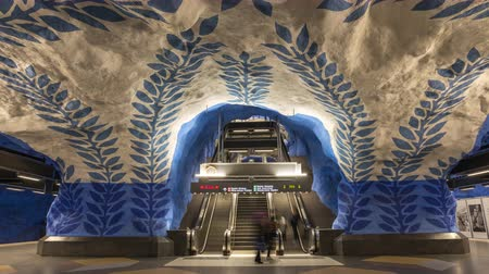 attractie : Stockholm Sweden time lapse 4K, timelapse bij metrostation T-Centralen Stockvideo