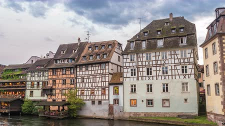обрамление : Strasbourg France time lapse 4K, Half Timber House city skyline timelapse Стоковые видеозаписи