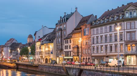 encadrement : Strasbourg France time-lapse 4 K, Half Timber House city skyline day to night timelapse