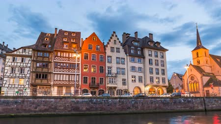 обрамление : Strasbourg France time lapse 4K, Half Timber House city skyline day to night timelapse