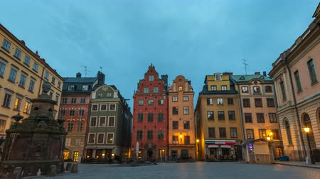 stockholm : Stockholm Sweden time lapse 4K, city skyline night to day timelapse at Gamla Stan old town and Stortorget