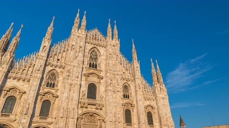 milan : Milan Italy time lapse 4K, city skyline timelapse at Milano Duomo Cathedral Stock Footage