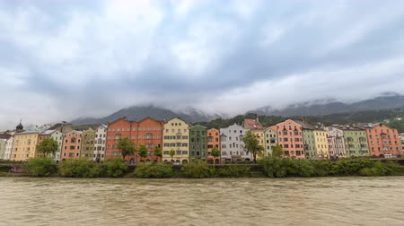 avusturya : Innsbruck Austria time lapse 4K, city skyline timelapse at Colourful Houses and Inn River Stok Video