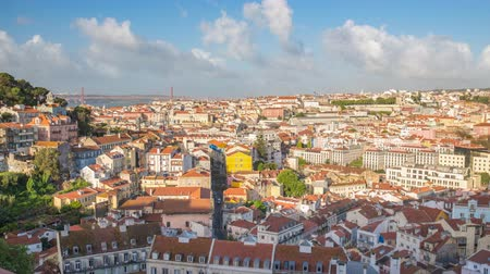 baixa : Lisbon Portugal time lapse 4K, aerial view city skyline timelapse at Lisbon Baixa district Stock Footage