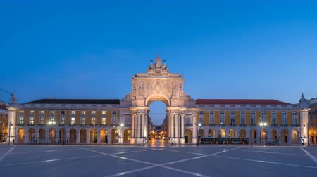 arco : Lisbon Portugal time lapse 4K, city skyline night to day timelapse at Arco da Rua Augusta