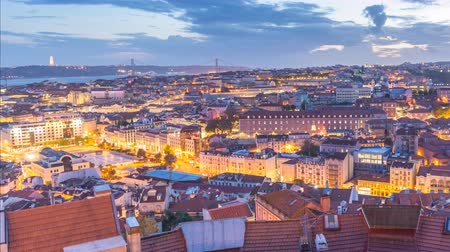 baixa : Lisbon Portugal time lapse 4K, aerial view city skyline day to night sunset timelapse at Lisbon Baixa district