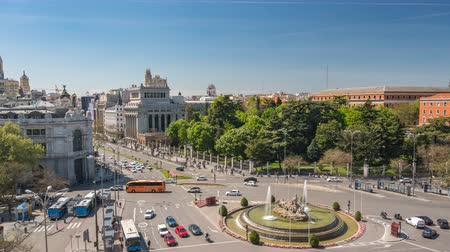 plaza independencia : Madrid Spain time lapse 4K, aerial view city skyline timelapse at Independence Square and Cibeles Fountain