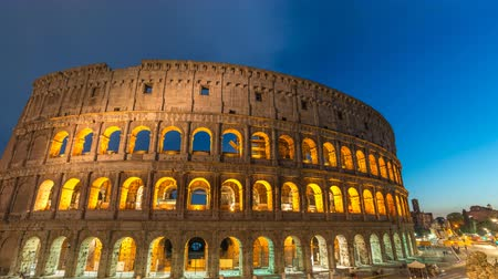 colosseum : Rome Italy time lapse 4K, day to night sunset timelapse at Rome Colosseum Stock Footage