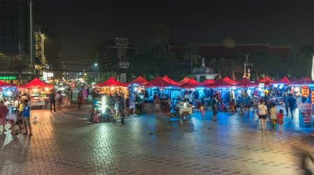 Vientiane Laos time lapse 4K, city skyline night timelapse at Vientiane night market Stok Video