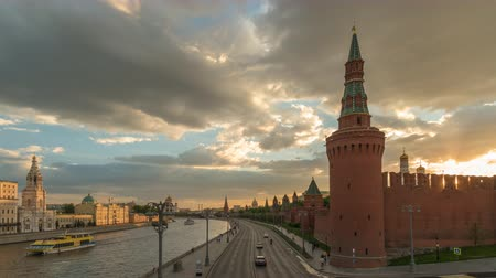 Moscow Russia time lapse 4K, city skyline sunset timelapse at Kremlin Palace Red Square and Moscow River