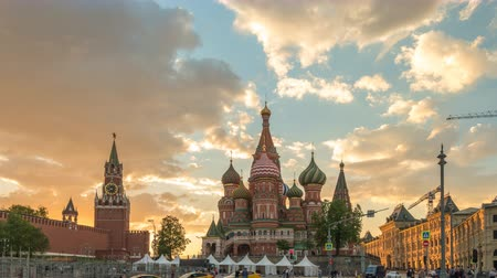 Moscow Russia time lapse 4K, city skyline sunset timelapse at Red Square and Saint Basil s Catherdral