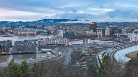 Oslo Norway time lapse 4K, aerial view city skyline timelapse at business district and Barcode Project