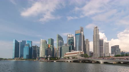 Singapore time lapse 4K, city skyline timelapse at Marina Bay waterfront business district