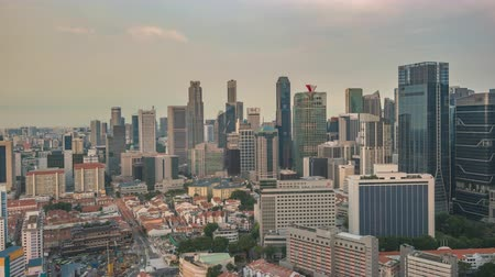 Singapore time lapse 4K, city skyline timelapse at business district Stok Video
