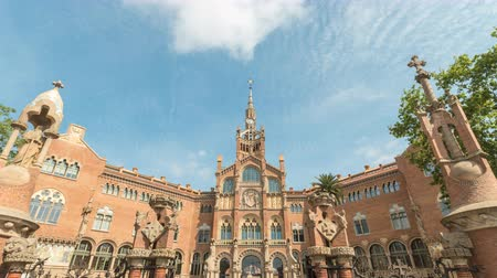Barcelona Spain time lapse 4K, city skyline timelapse at Hospital de Sant Pau