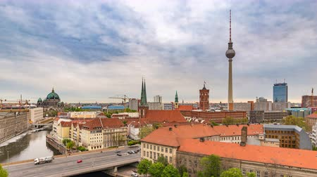 pitka : Berlin Germany time lapse 4K, city skyline timelapse at TV Tower and Spree River