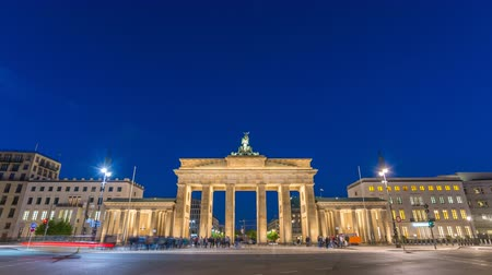 Berlin Germany time lapse 4K, city skyline night timelapse at Brandenburg Gate (Brandenburger Tor)