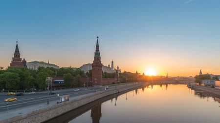 Moscow Russia time lapse 4K, city skyline sunrise timelapse at Kremlin Palace Red Square and Moscow River