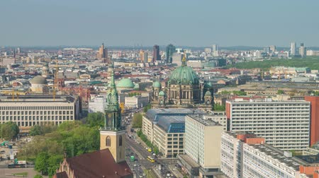berlin skyline : Berlin Germany time lapse 4K, high angle view city skyline timelapse at Berlin Cathedral (Berliner Dom)
