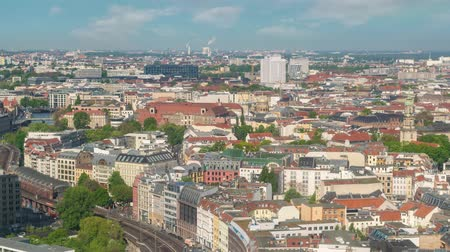 berlin skyline : Berlin Germany time lapse 4K, high angle view city skyline timelapse