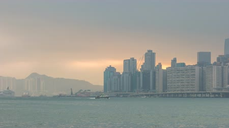 hong kong : Hong Kong time lapse 4K, city skyline timelapse at Victoria Bay Hongkong