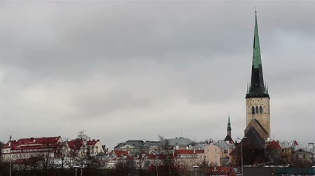 old times : A view of the city with the old buildings and the tall church on the right side Stock Footage