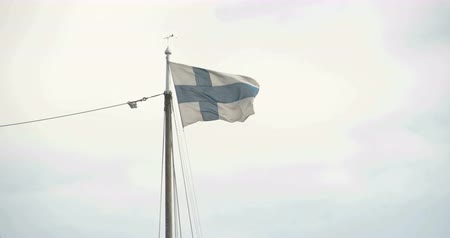 fince : A Finland flag waving on the breeze of the wind 4K FS700 Odyssey 7Q Stok Video
