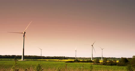 eko : Five windmills in a field on a late afternoon with the red sky 4K