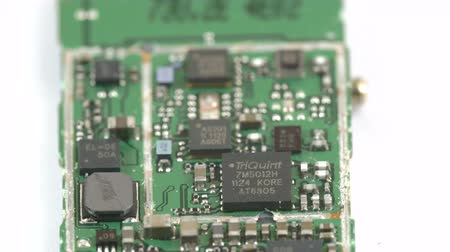 kgb : Closer look of the micro chip with some micro boards and wires on it Stock Footage