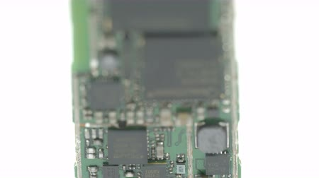 kgb : The batterys micro chip showing the green background and the micro circuits Stock Footage