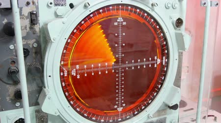 crosshair : Closer look of the working radar on a warship. It is a technology used for military operations Stock Footage