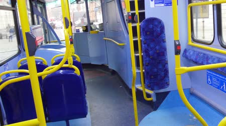otobüs : The inside look of the red bus in London Stok Video