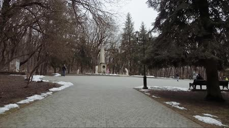 obelisk : The place of the duel of the Russian poet Lermontov. The square in front of the commemorative stele in place of the death of the poet. Stock Footage