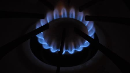 A blue flame emits from a gas cooker. Vídeos